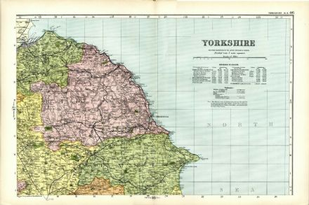 1904 Antique Map YORKSHIRE NE Houses FARMS Railways STATIONS Halls ENGLAND